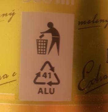 Urpiner pivo - označenie separácie - Alu - hliník