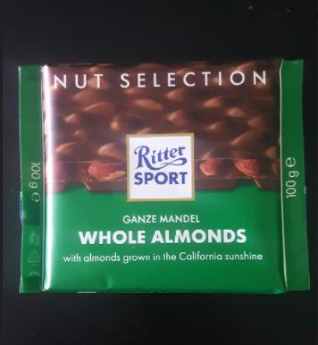Ako recyklovať/triediť čokoláda ritter sport ganze mandel whole almonds